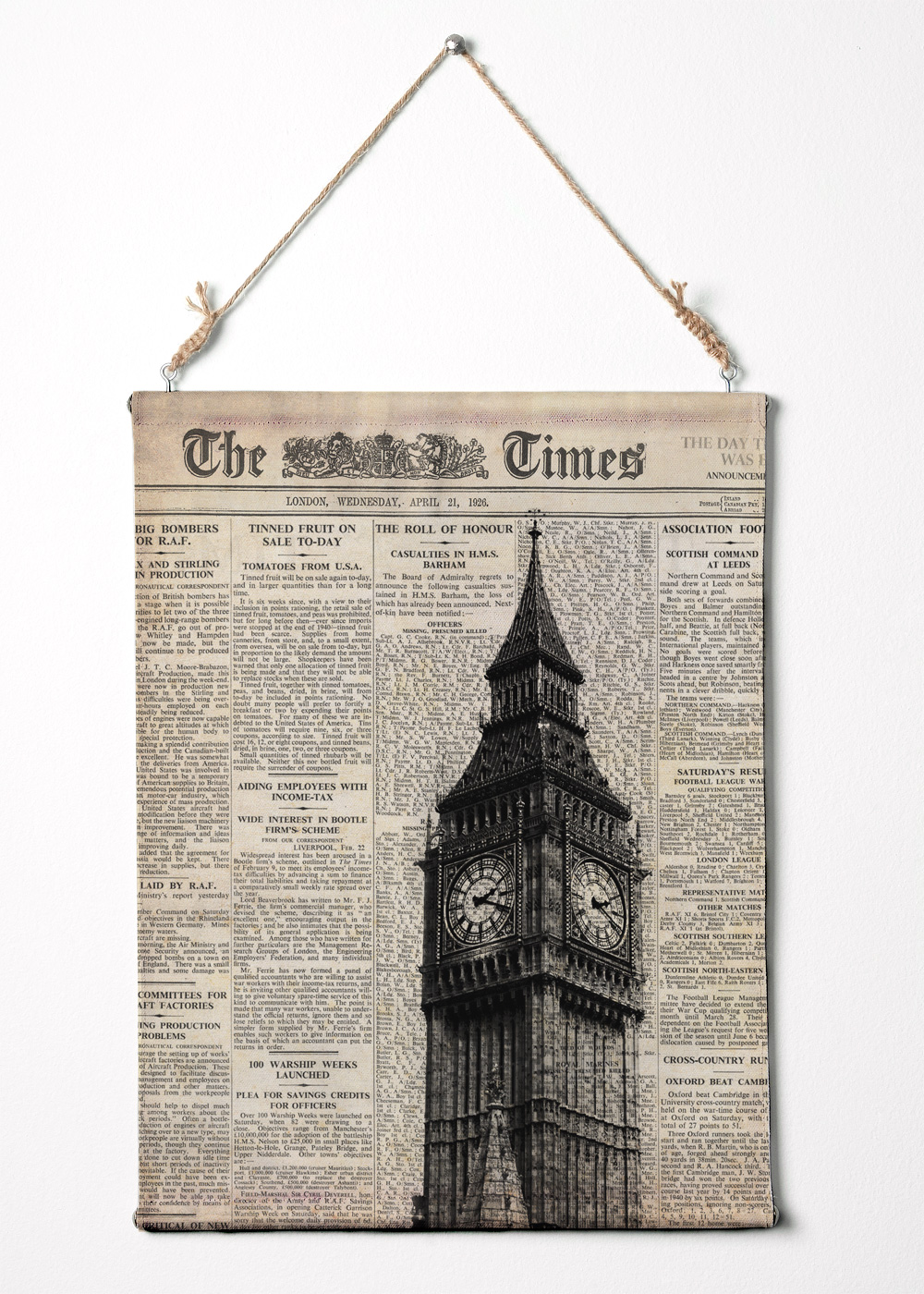 Print on canvas big ben and newspaper london wall art for Newspaper canvas art